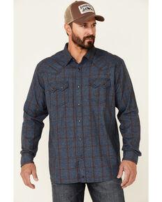 Moonshine Spirit Men's Water Hole Large Plaid Long Sleeve Snap Long Sleeve Western Flannel Shirt , Blue, hi-res