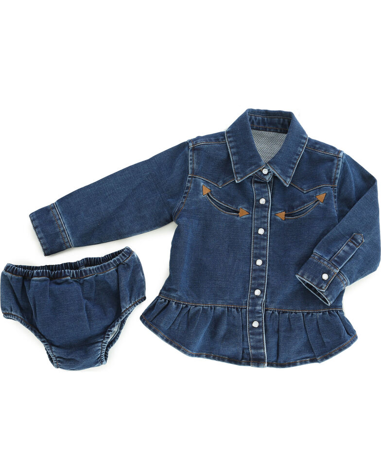 406d5d99e Zoomed Image Wrangler Infant Girls' Blue Denim Western Shirt & Bloomer Set  , Blue, hi-