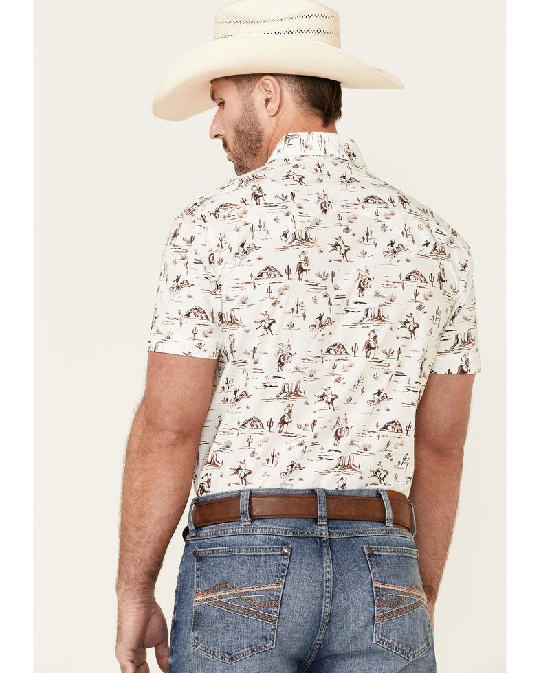 Dale Brisby Men's Off-White Desert Scene Print Short Sleeve Snap Western Shirt , Off White, hi-res