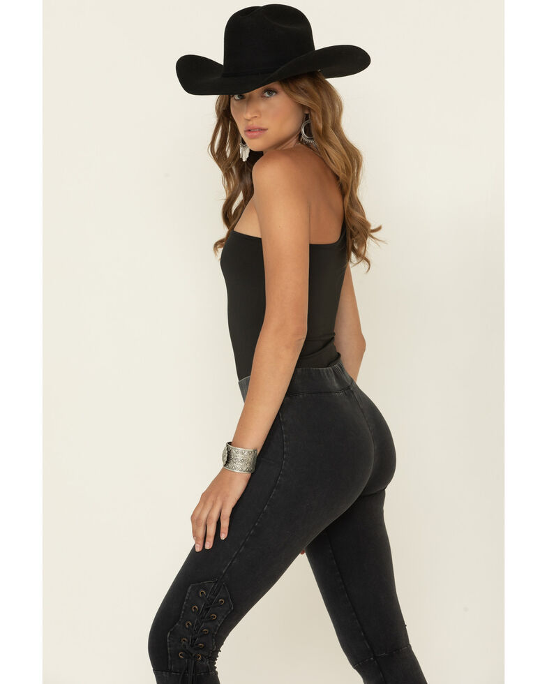 Rock & Roll Cowgirl Women's Distressed Black Tie-Up Bell Bottoms , Black, hi-res