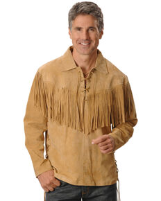 Scully Men's Fringed Boar Suede Leather Long Sleeve Western Shirt, Tan, hi-res