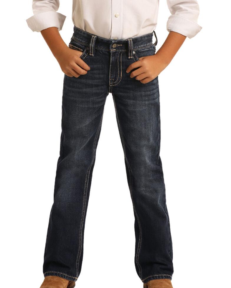 Rock & Roll Denim Boys' Dark Vintage Stretch Bootcut Jeans , Blue, hi-res
