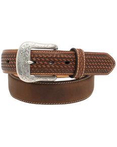"""Ariat 1 1/2"""" Basket Weave Tab Belt, Aged Bark, hi-res"""