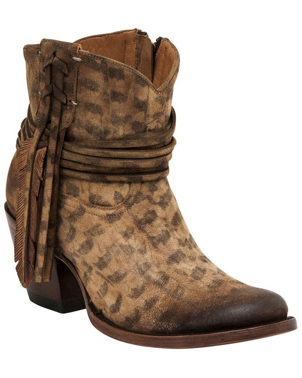 Lucchese Handmade Robyn Hand Tooled Feather Booties , Tan, hi-res