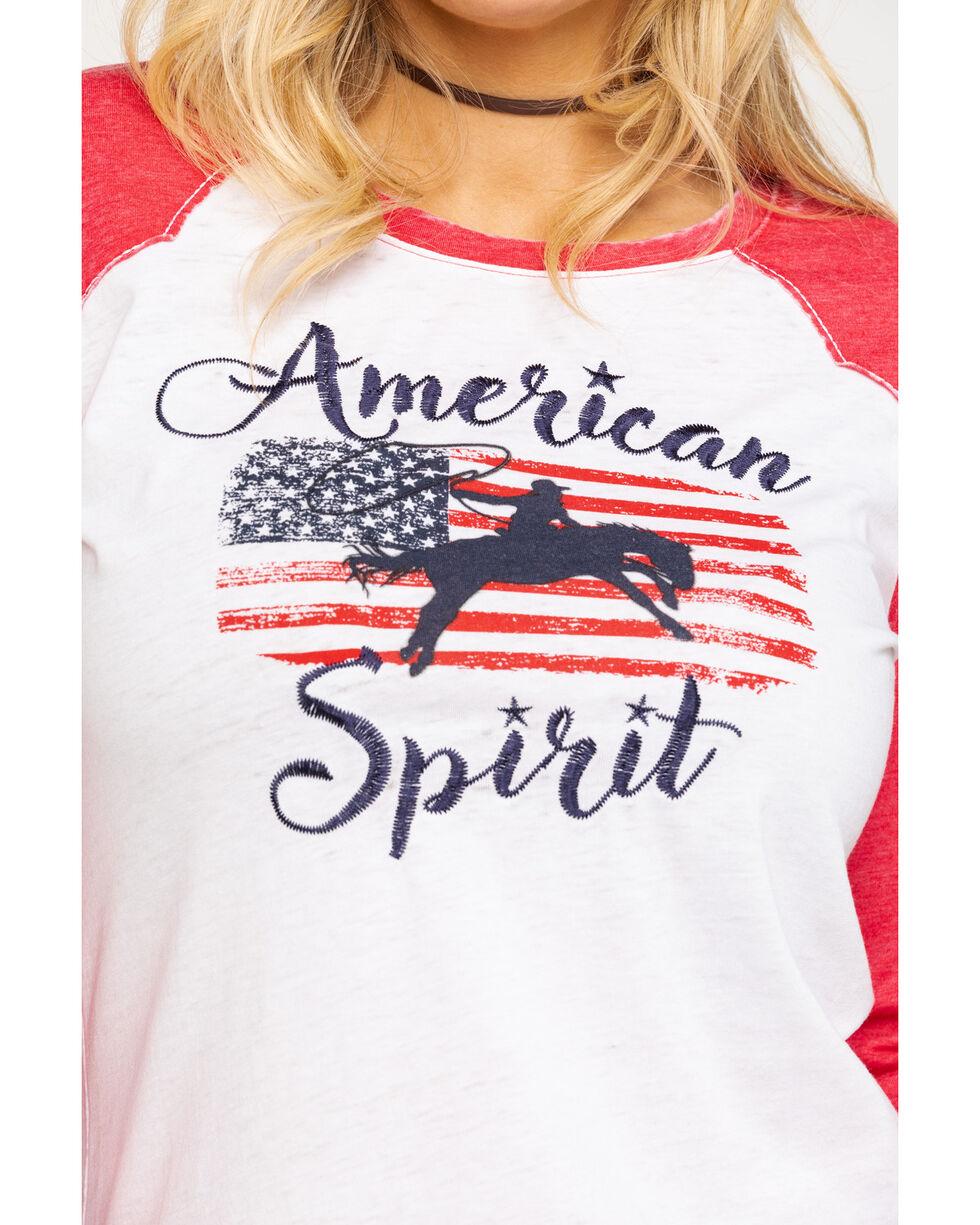 Ariat Women's American Spirit Graphic Raglan Tee , Red, hi-res