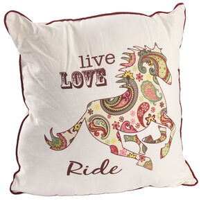 BB Ranch Paisley Horse Live Love Ride Pillow, No Color, hi-res