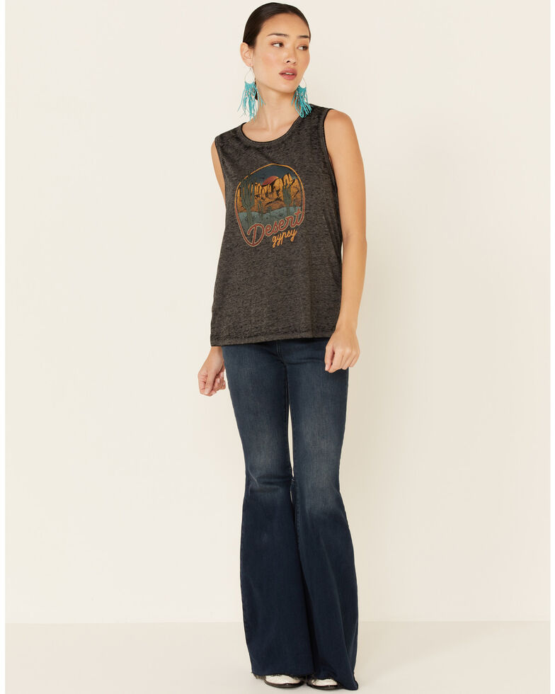 Cut & Paste Women's Desert Gypsy Braided Armhole Graphic Tank, Charcoal, hi-res