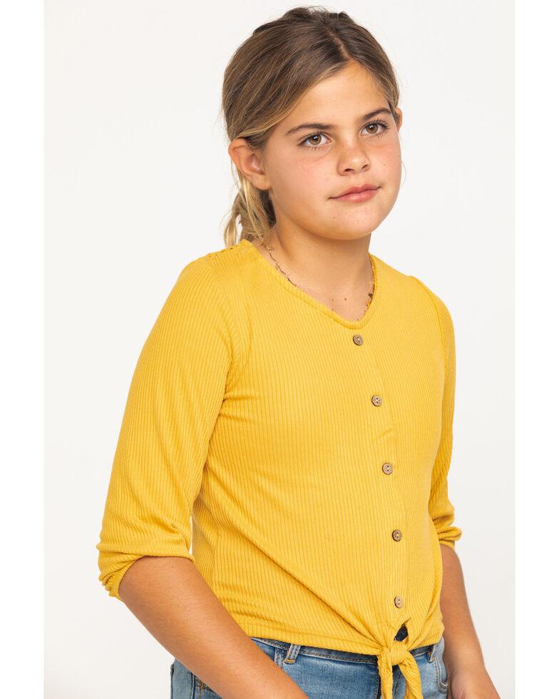 Shyanne Girls' Mustard Tie-up Long Sleeve Lace Shirt, Dark Yellow, hi-res