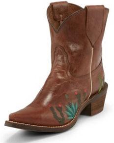 Nocona Women's Agave Brown Western Booties - Snip Toe, Brown, hi-res