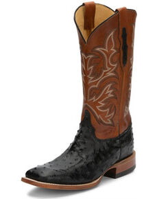 Justin Men's Pascoe Black Full-Quill Ostrich Western Boots - Wide Square Toe, Black, hi-res