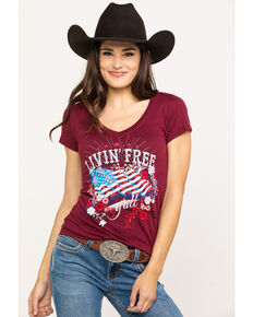 White Label by Panhandle Women's Red Livin' Free Y'all Graphic Tee, Red, hi-res