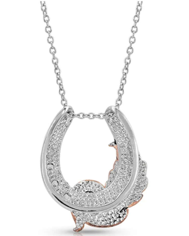 Montana Silversmiths Women's Natural Luck Horseshoe Necklace, Silver, hi-res