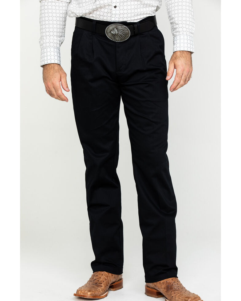 Wrangler Men's Black Casual Pleated Front Western Pants , Black, hi-res