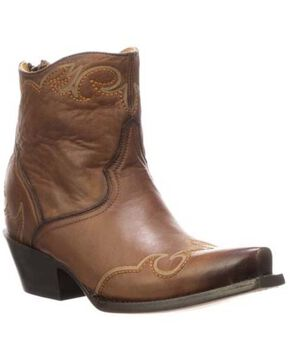 Lucchese Women's Ilibert Western Booties - Snip Toe, Brown, hi-res