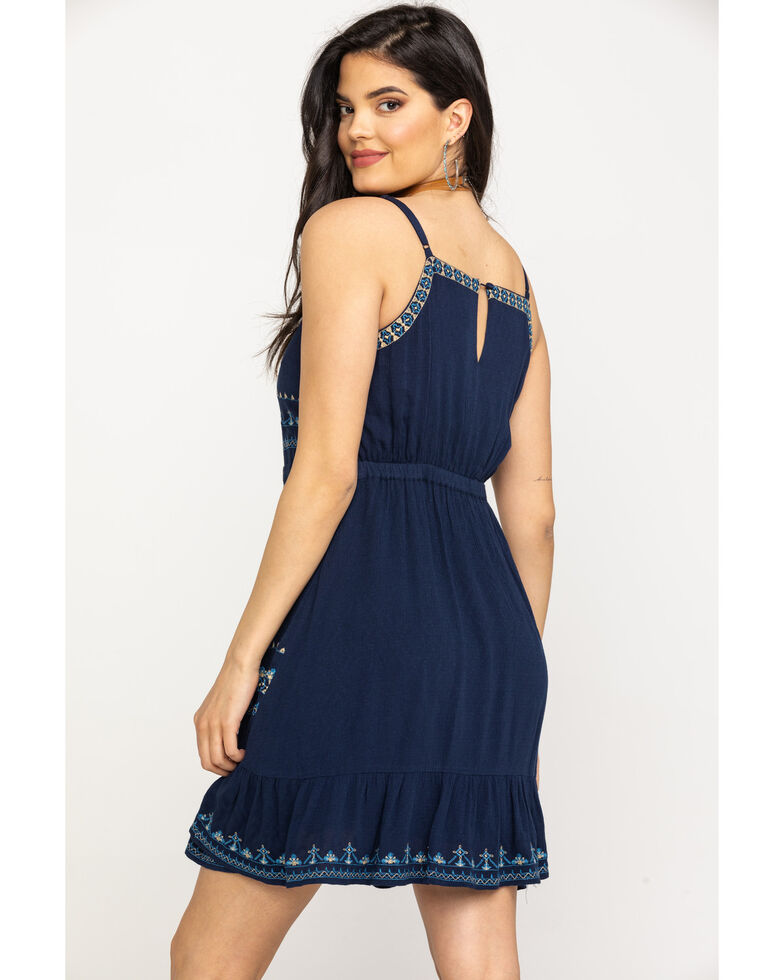 Miss Me Women's Aztec Embroidered Sundress , Navy, hi-res