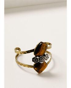 Shyanne Women's Golden Dreamcatcher Floral Cuff Bracelet, Gold, hi-res
