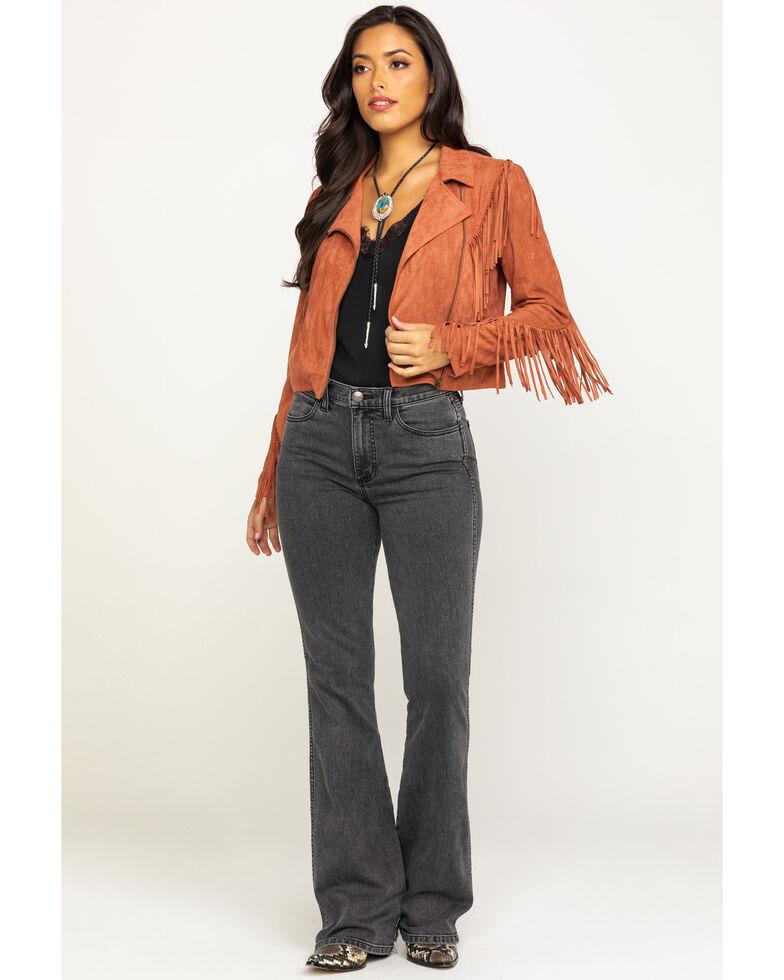 Flying Tomato Women's Rust Suede Fringe Zip Jacket  , Rust Copper, hi-res