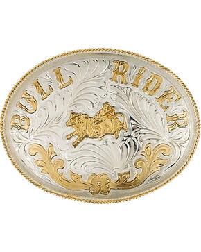 Western Express Men's Extra Large German Bull Rider Belt Buckle , Silver, hi-res