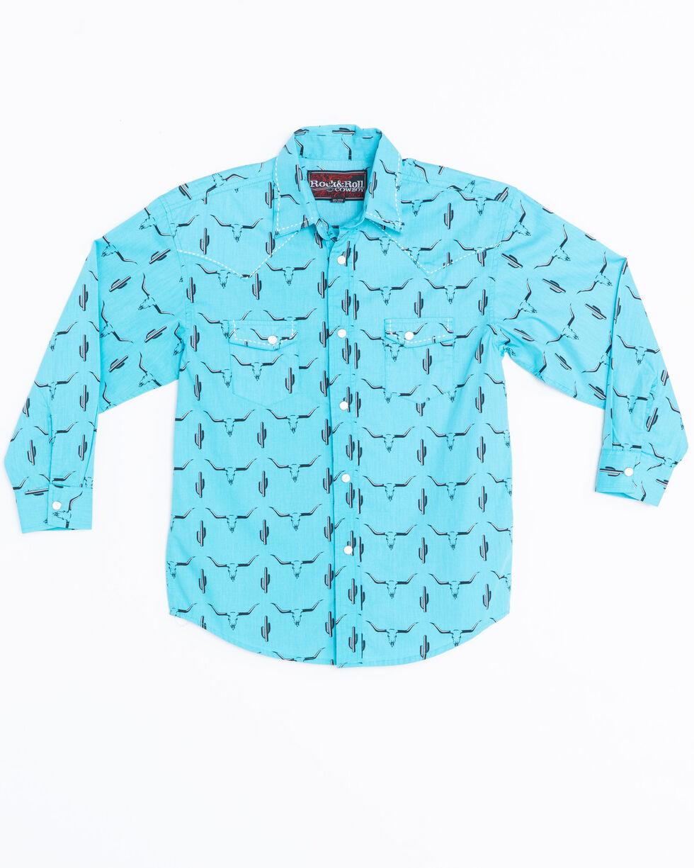 Rock & Roll Cowboy Boys' Poplin Print Snap Long Sleeve Shirt , Aqua, hi-res