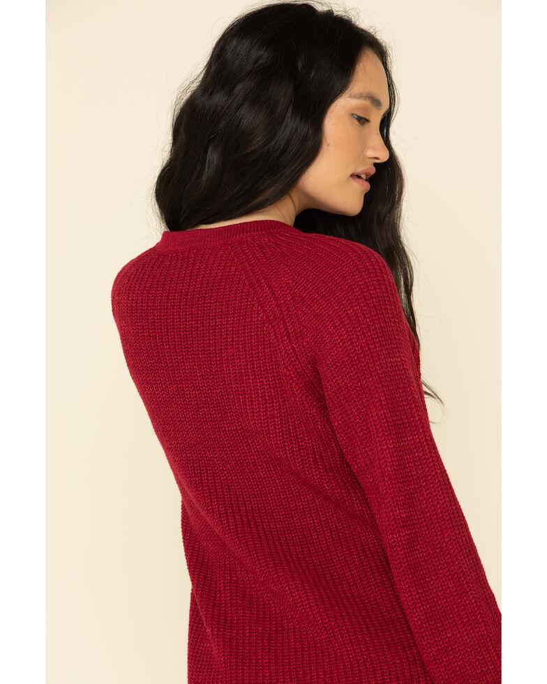 Rock & Roll Denim Women's Burgundy Lace Up Sweater , Burgundy, hi-res