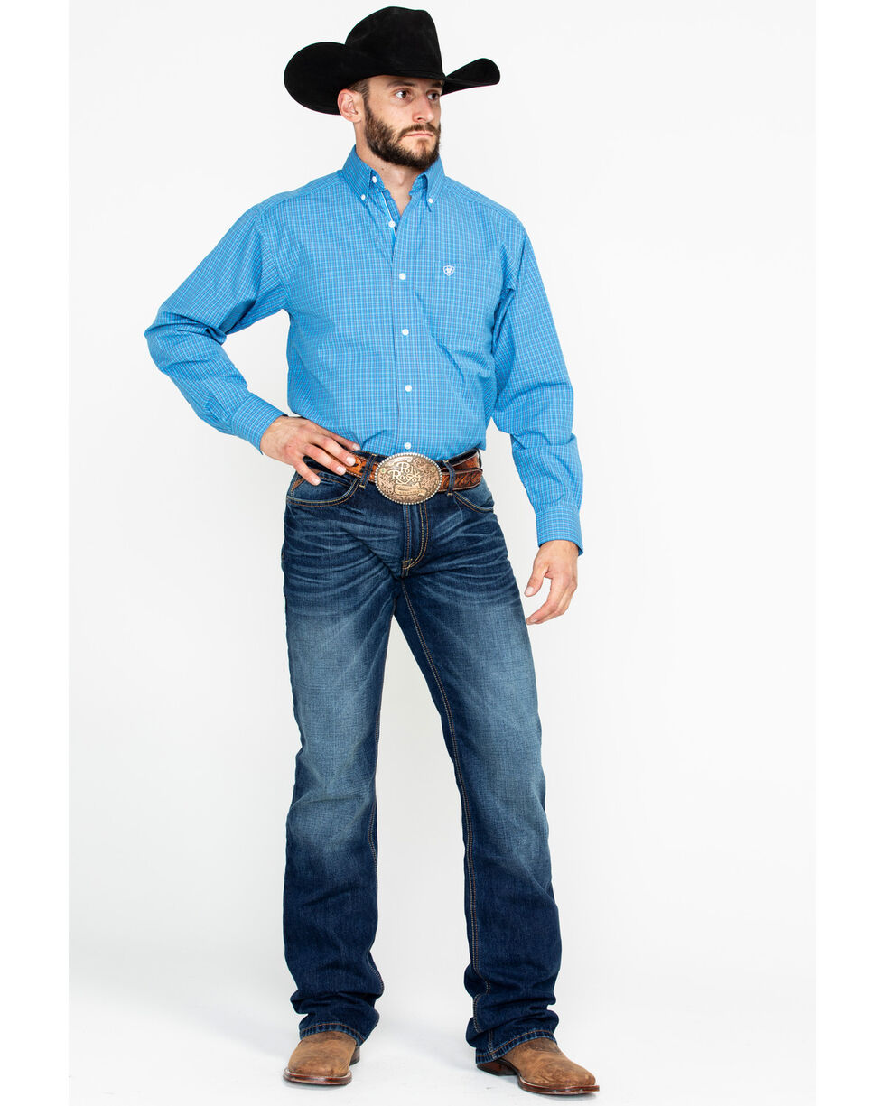 Ariat Men's Azure Ableman Plaid Long Sleeve Western Shirt, Blue, hi-res