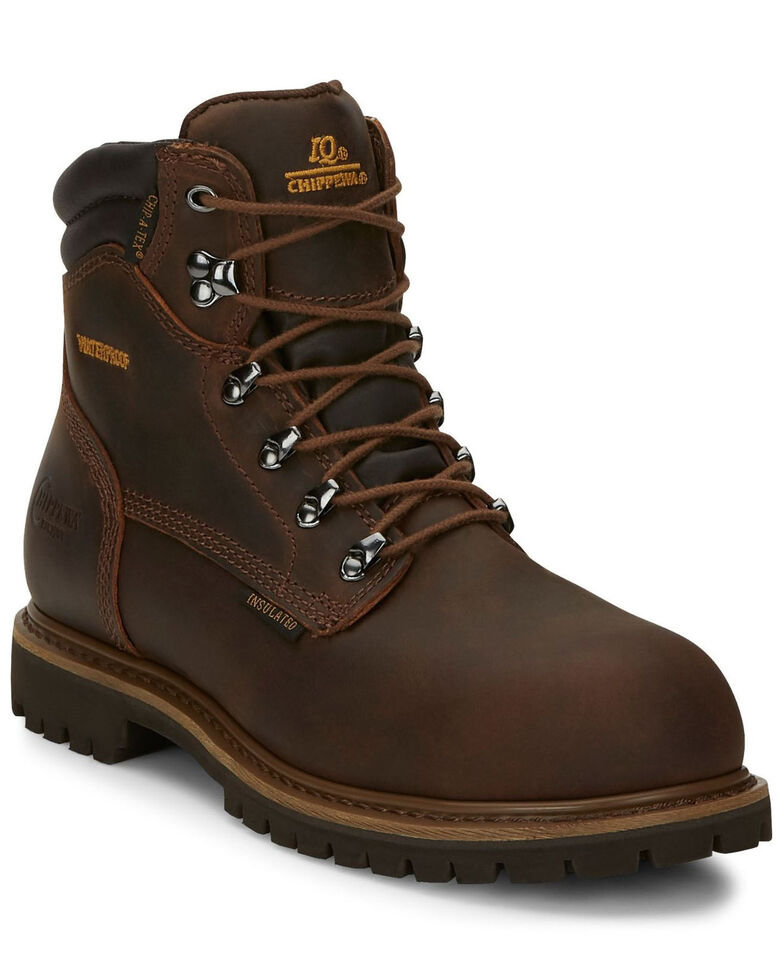 "Chippewa Waterproof & Insulated Tough 6"" Lace-Up Work Boots - Steel Toe, Bark, hi-res"