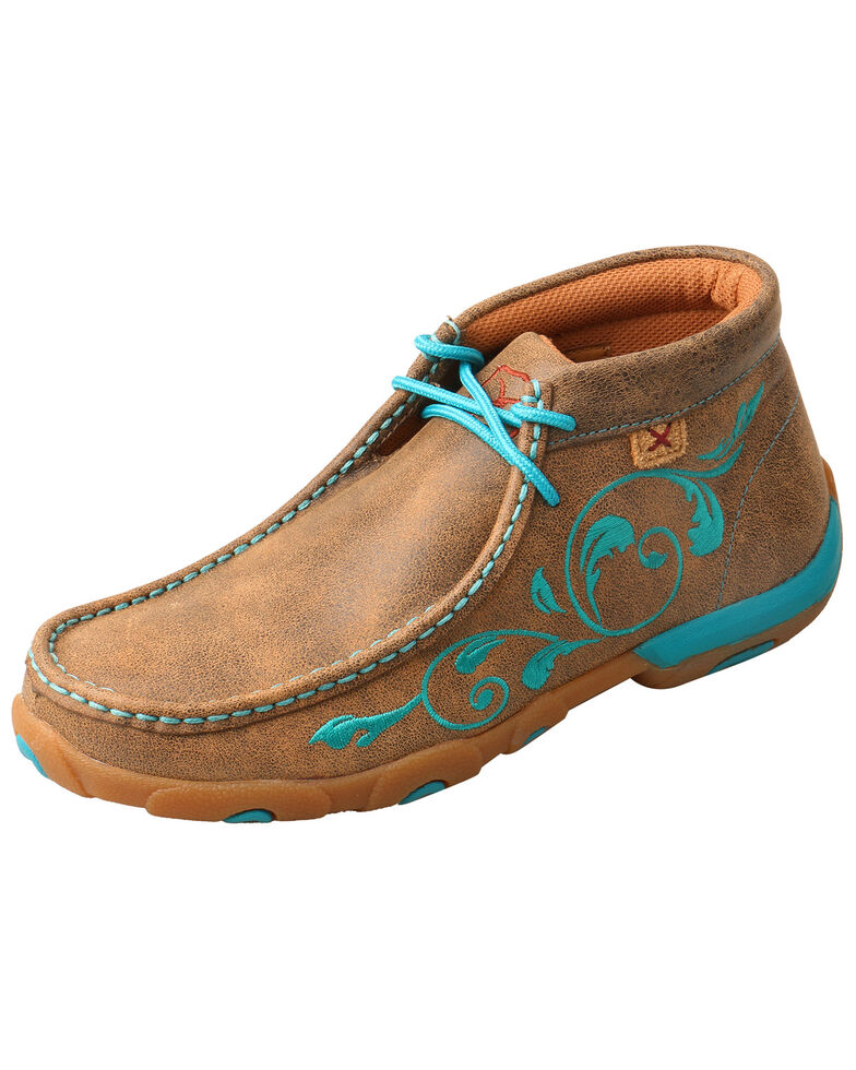 Twisted X Women's Tooled Embroidery Moccasin Driving Shoes - Moc Toe, Brown, hi-res