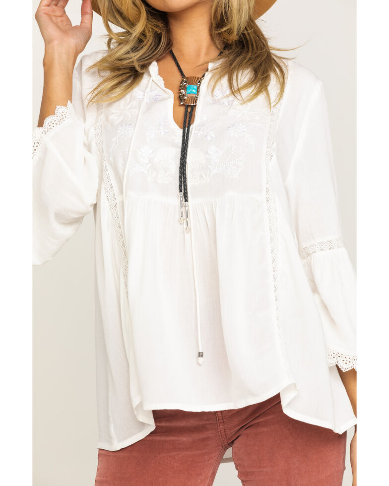 Studio West Women's White Embroidered Peasant Top , White, hi-res