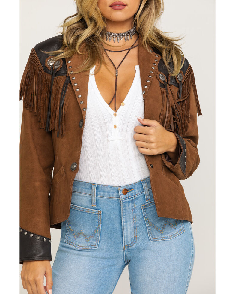 Cripple Creek Women's Hand-Sanded Two-Tone Snap Concho Fringe Leather Jacket , Chocolate, hi-res