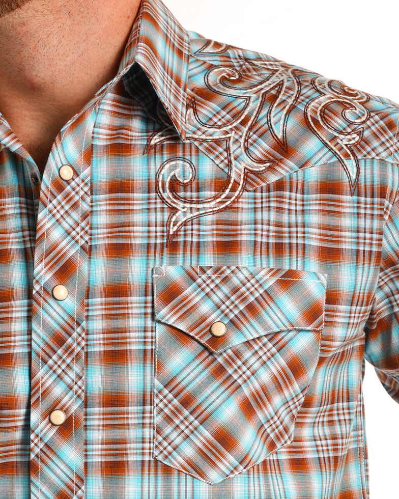 Rough Stock by Panhandle Men's Ombre Plaid Short Sleeve Western Shirt, Brown, hi-res