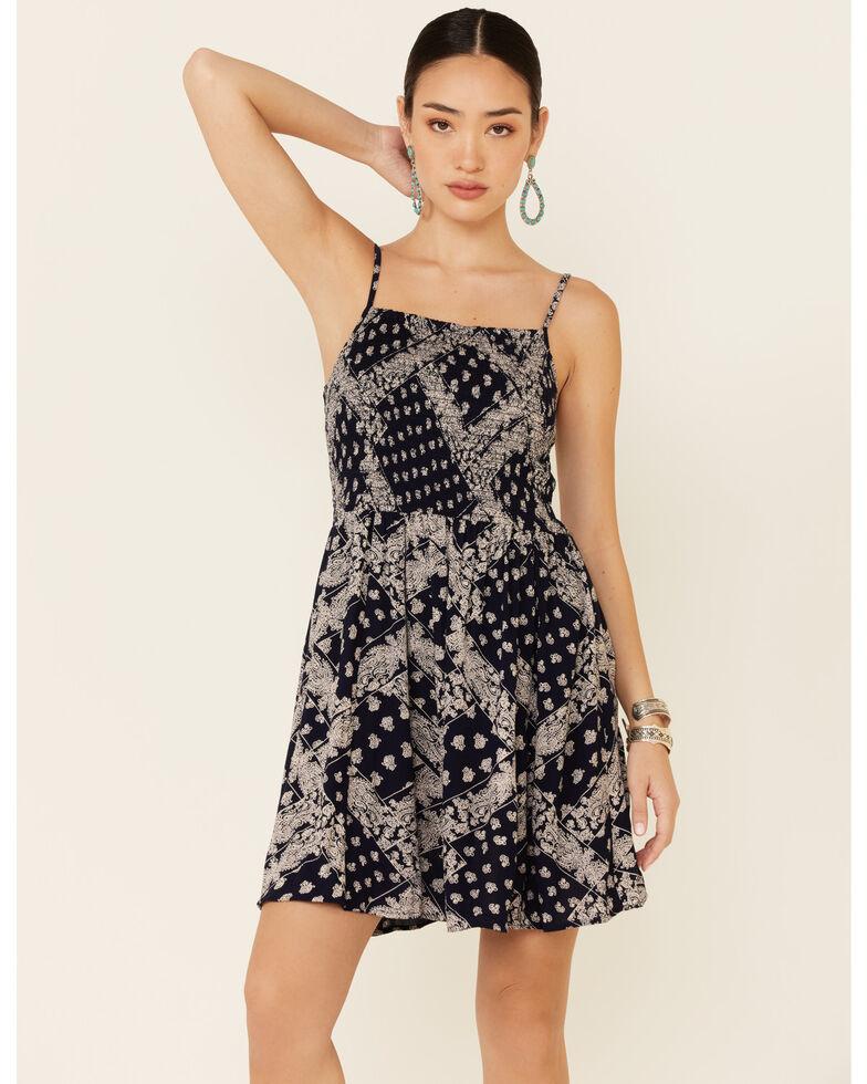 Angie Women's Smocked Bandana Print Dress, Navy, hi-res