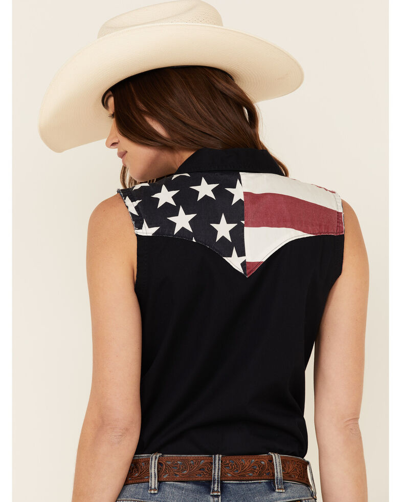 Shyanne Life Women's Americana Print Bubba Sleeveless Western Core Shirt , Black, hi-res