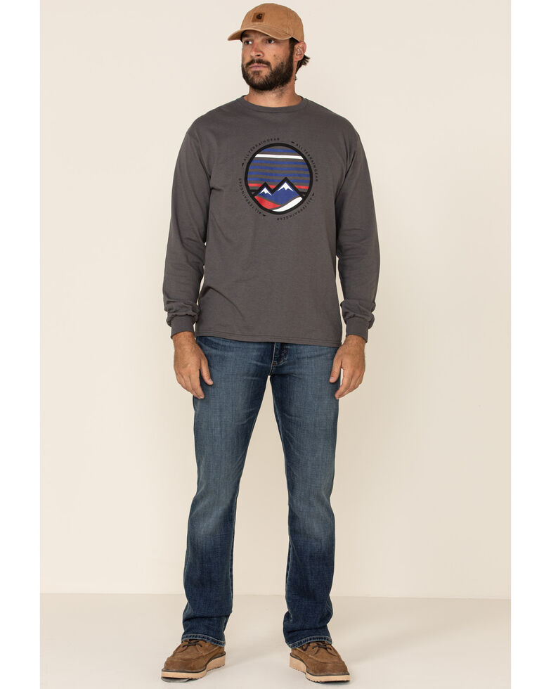 ATG™ by Wrangler Men's All-Terrain Charcoal Mountains Graphic Long Sleeve T-Shirt , Grey, hi-res