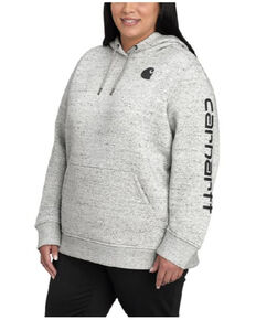 Carhartt Women's Heather Grey Clarksburg Sleeve Logo Hooded Sweatshirt - Plus, Natural, hi-res