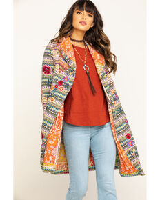 Johnny Was Women's Nia Patchwork Alabaster Hoodie Cardigan, Cream, hi-res