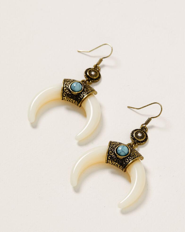 Shyanne Women's Crescent Sunset Bone Earrings, Bronze, hi-res