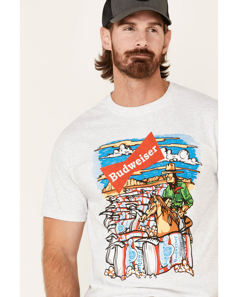Brew City Beer Gear Men's Ash Budweiser Graphic T-Shirt , Ash, hi-res