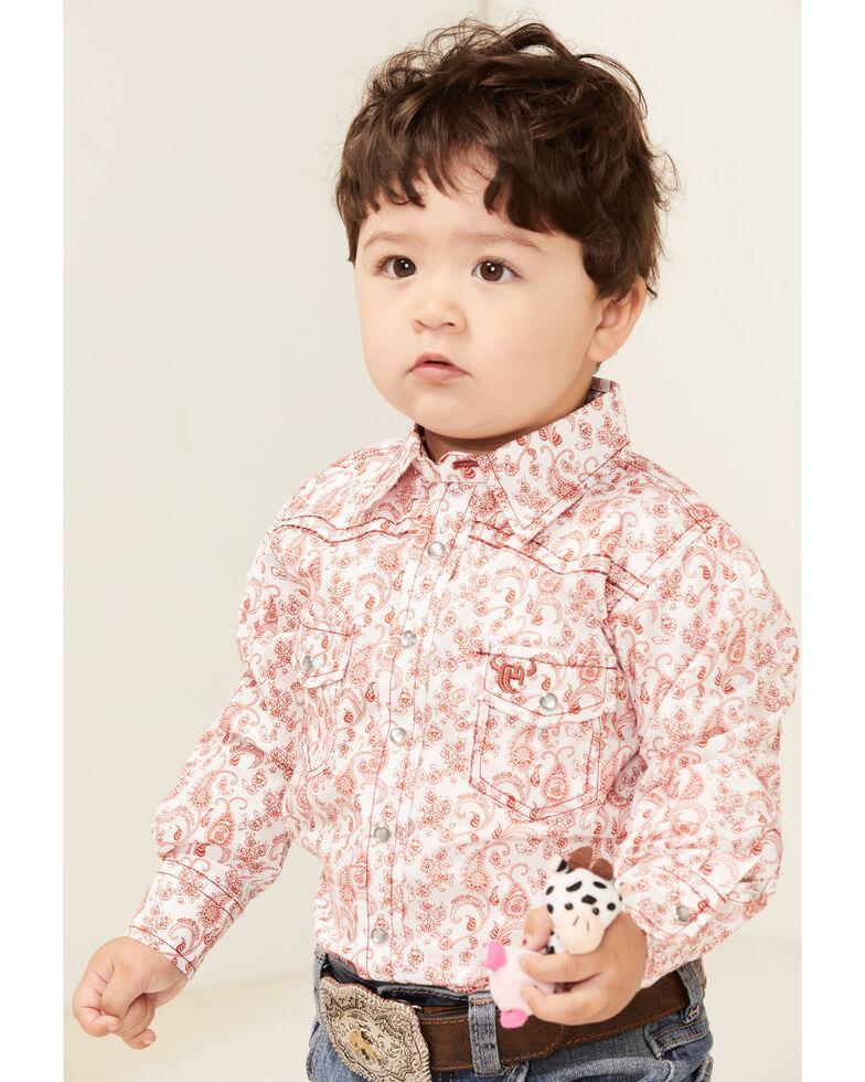 Cowboy Hardware Toddler Boys' Orange Paisley Print Long Sleeve Snap Western Shirt , Orange, hi-res