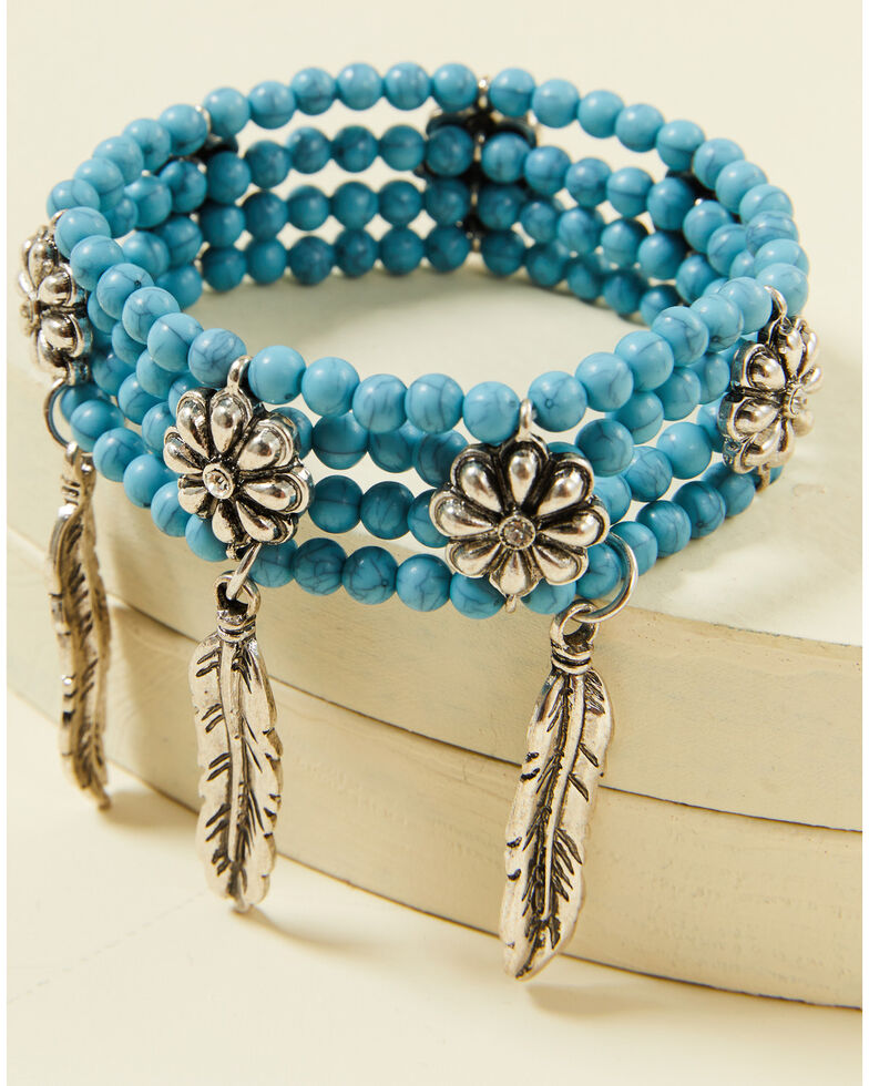 Shyanne Women's Summer Nights Turquoise Concho Stretch Bracelet, Silver, hi-res