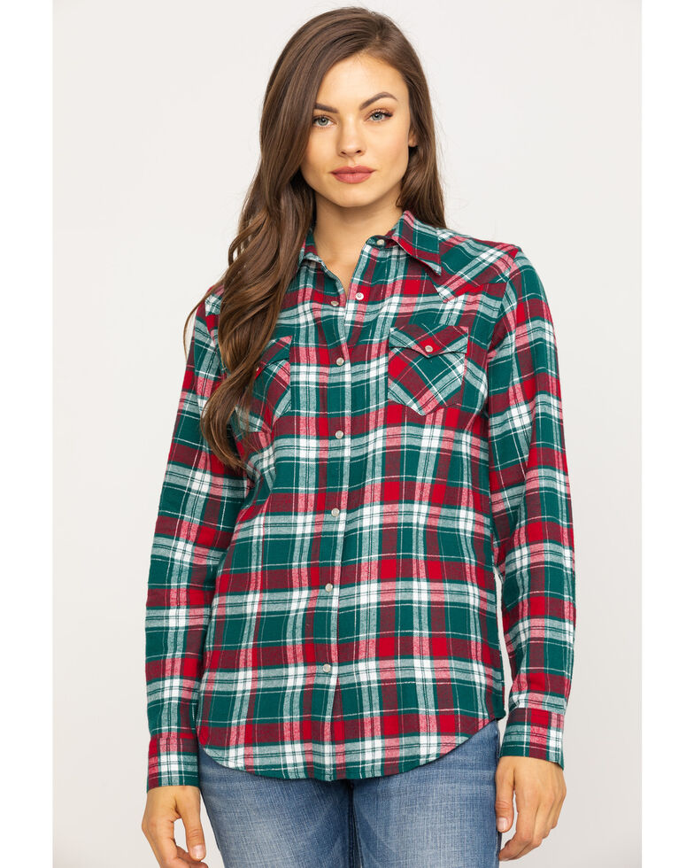 Wrangler Women's Green Plaid Flannel Shirt, Green, hi-res