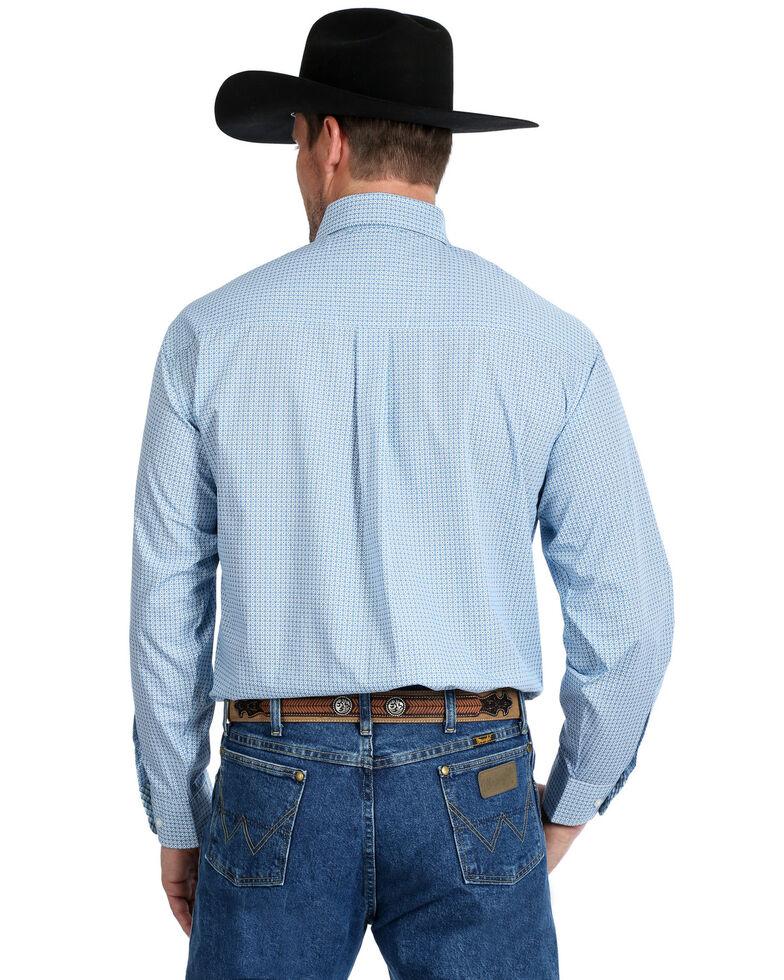 George Strait by Wrangler Men's Royal Geo Print Long Sleeve Western Shirt - Tall, Royal Blue, hi-res