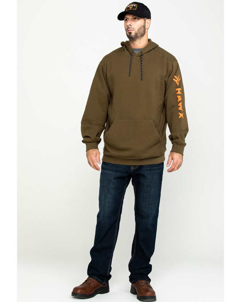 Hawx Men's Olive Logo Sleeve Performance Fleece Hooded Work Sweatshirt  , Olive, hi-res