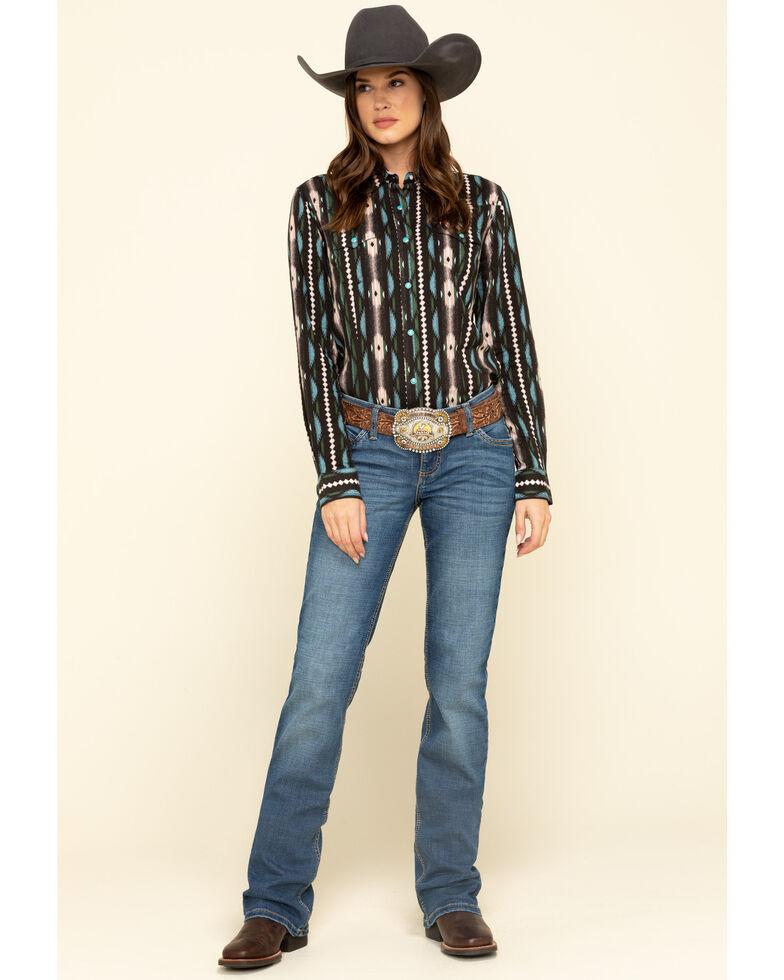 Wrangler Women's Brown Aztec Stripe Snap Long Sleeve Western Shirt , Brown, hi-res