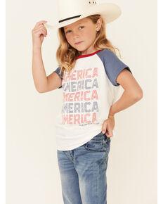 Rock & Roll Denim Girls' America Graphic Short Sleeve Raglan Tee, White, hi-res