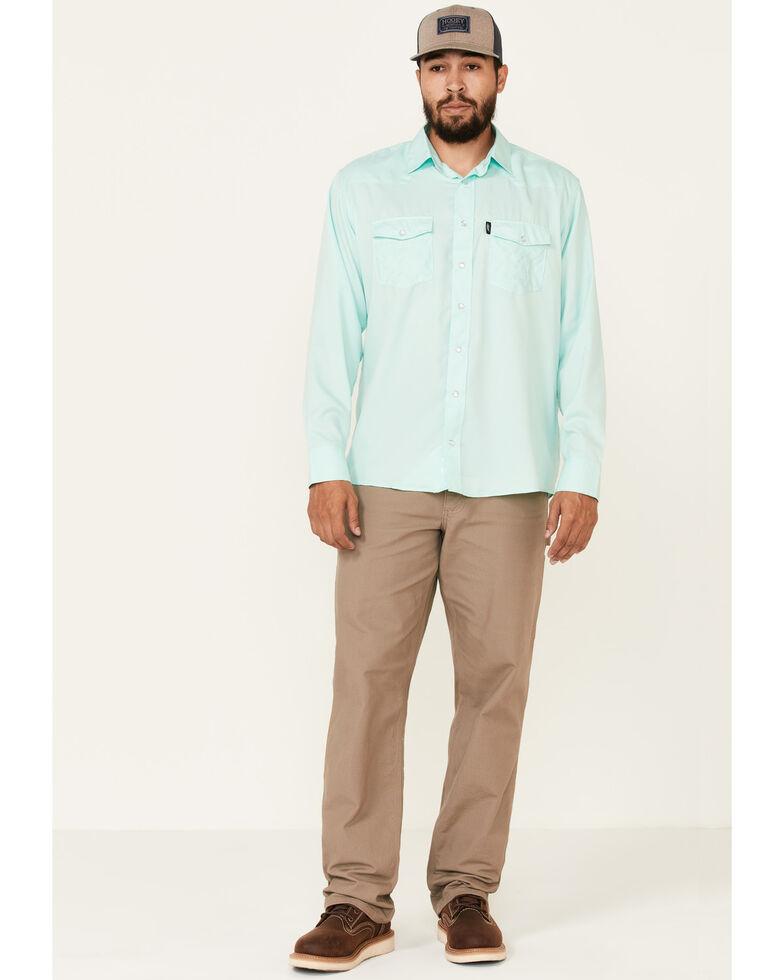 HOOey Men's Solid Teal Habitat Sol Long Sleeve Snap Western Shirt , Teal, hi-res