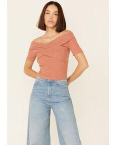 Very J Women's Rib-Knit Cross Front Off-Shoulder Short Sleeve Crop Top, Rust Copper, hi-res