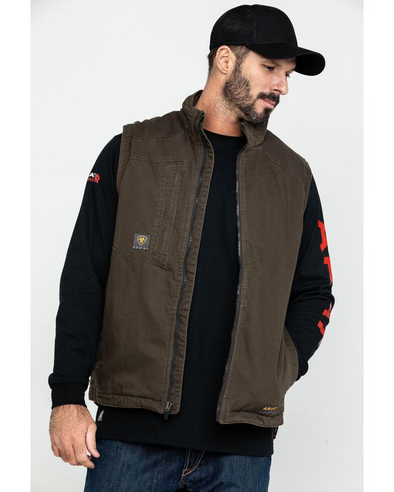 Ariat Men's Loden Rebar Washed Dura Canvas Insulated Work Vest , Loden, hi-res