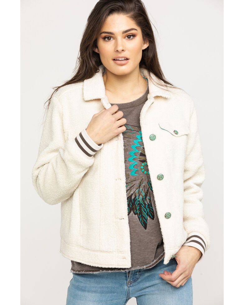 Ariat Women's Steer My Way Trucker Jacket, White, hi-res