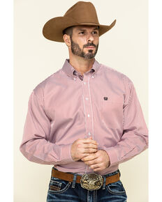 Cinch Men's Red Tencel Striped Long Sleeve Western Shirt , Red, hi-res