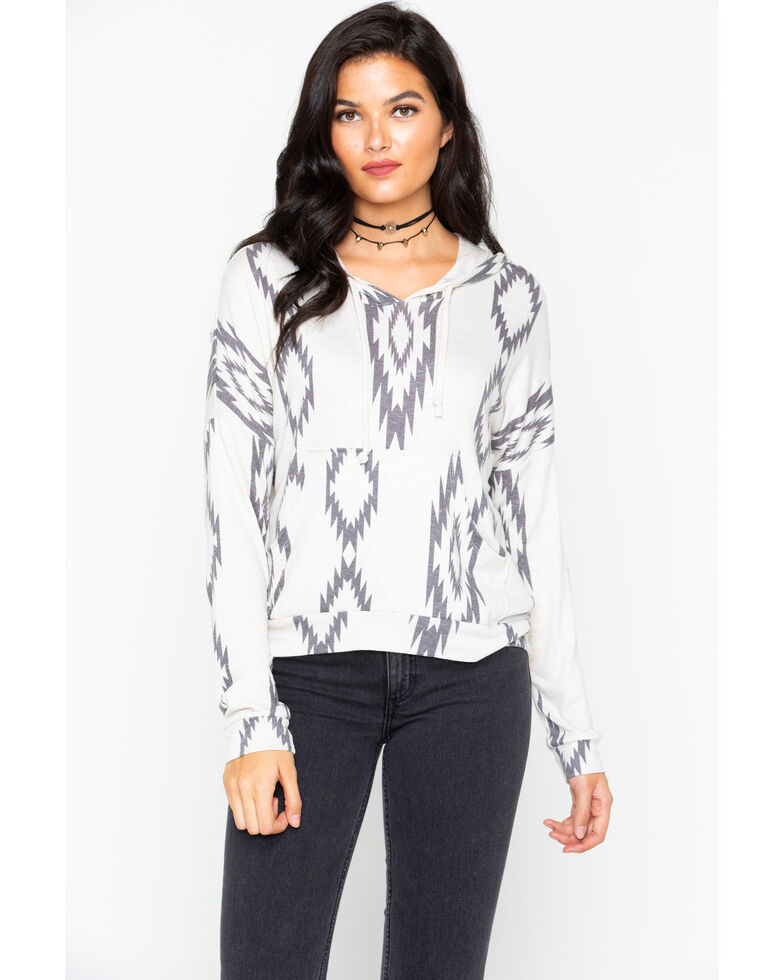Rock & Roll Cowgirl Aztec Print Knit Hoodie, Oatmeal, hi-res